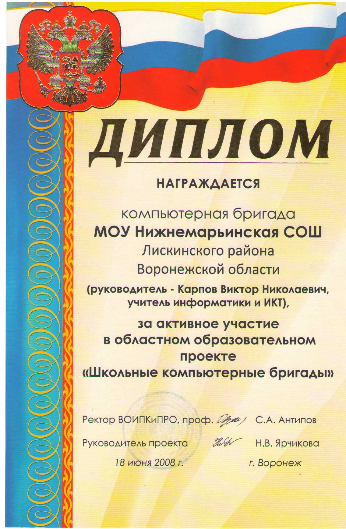 достижения Диплом ВОИПКиПРО 2008 посмотреть